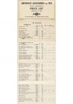 1951 Chevrolet Acc Price List